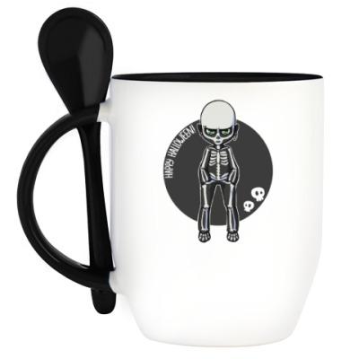 Кружка с ложкой Скелет