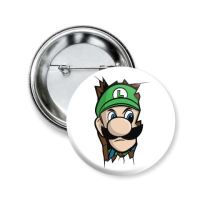 Значок 50мм Луиджи Марио