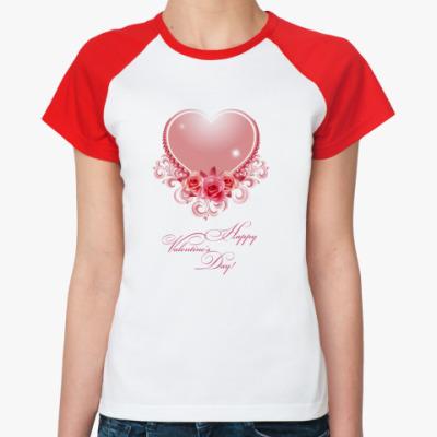 Женская футболка реглан День Св. Валентина