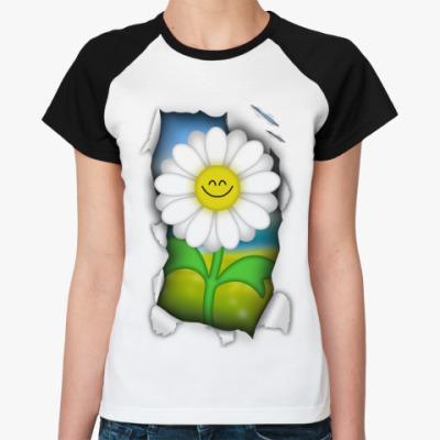 Женская футболка реглан Ромашка