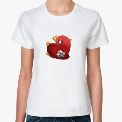 Классическая футболка Мышь и валентинка