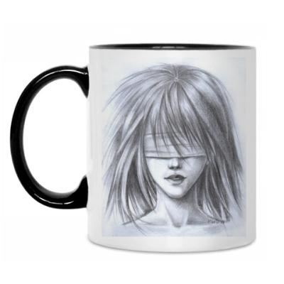 Кружка Девушка с завязанными глазами