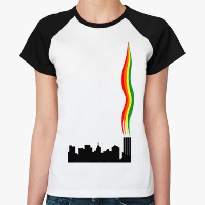 Женская футболка реглан Радужный Дым