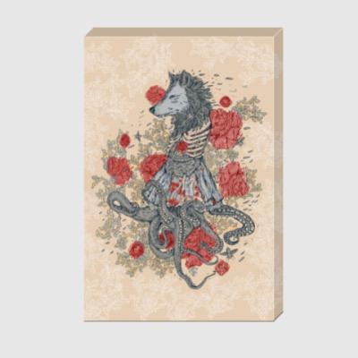 Холст Волк-девушка-осьминог