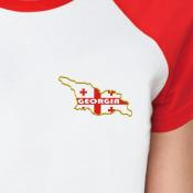 Принт Женская футболка реглан, бел/красн