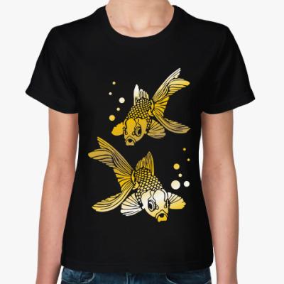 Женская футболка Золотые рыбки