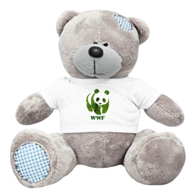 Плюшевый мишка Тедди WWF. Панда. Зеленый лист