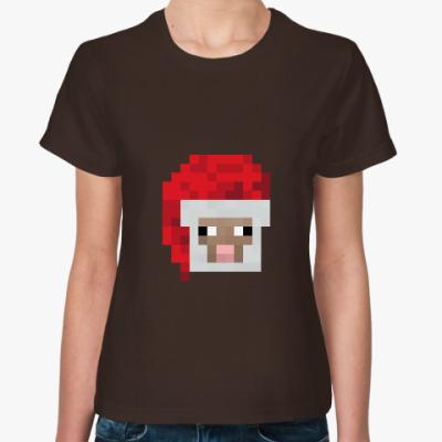Женская футболка Новогодняя овечка из Minecraft
