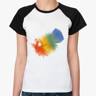 Женская футболка реглан   Перо