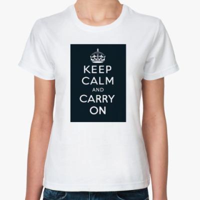 Классическая футболка Keep calm and carry on