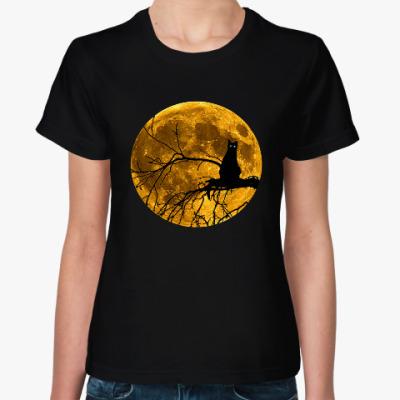 Женская футболка Луна и кошка