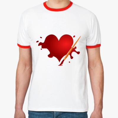 Футболка Ringer-T  Сердце и кисть