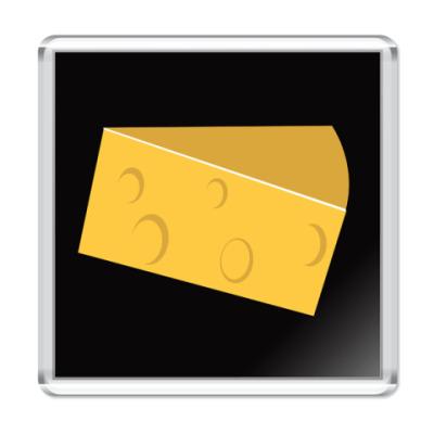 Магнит  черный 6,5x6,5см сыр