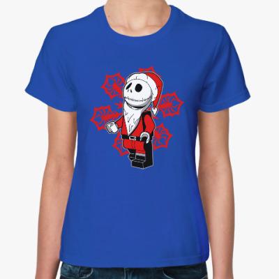 Женская футболка Санта скелет