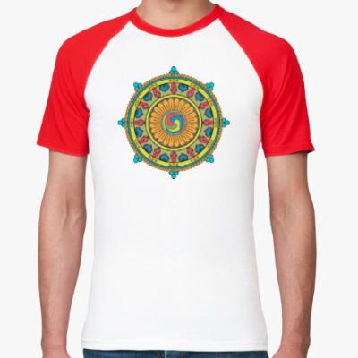 Футболка реглан Мандала - круглый восточный орнамент