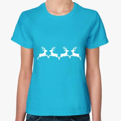 Женская футболка  Новогодние олени