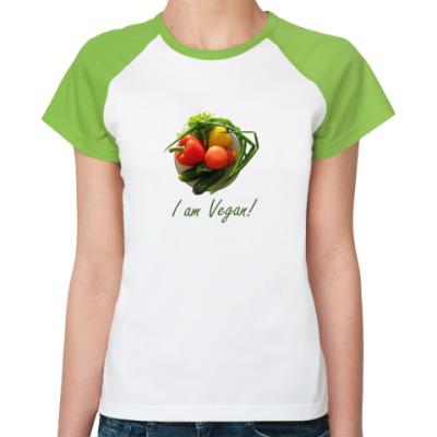 Женская футболка реглан I am Vegan!