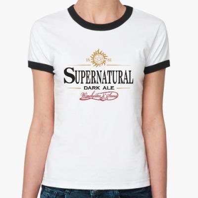 Женская футболка Ringer-T Supernatural - Темный эль