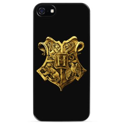 Чехол для iPhone Гарри Поттер (Хогвартс. Золотистый герб)