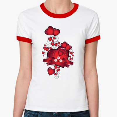 Женская футболка Ringer-T  День Св. Валентина