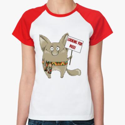 Женская футболка реглан Looking for puss!