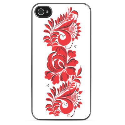 Чехол для iPhone 'Хохлома красная'