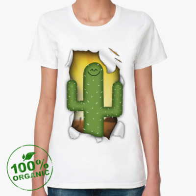 Женская футболка из органик-хлопка 'Кактус'