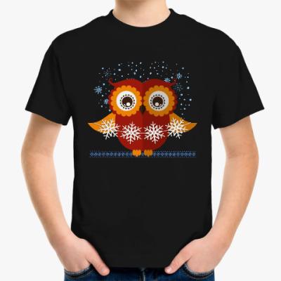 Детская футболка Сова со снежинками