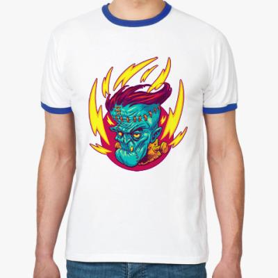 Футболка Ringer-T Франкенштейн в огне