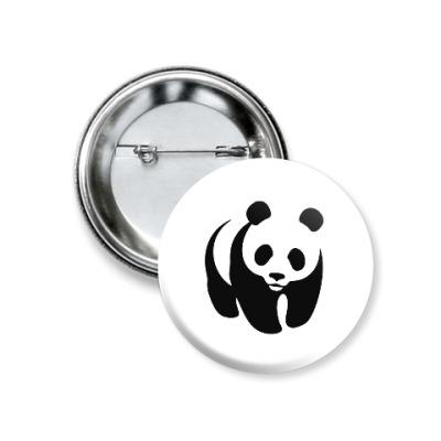 Значок 37мм WWF. Панда