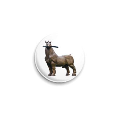 Значок 25мм Конь жует рельсу