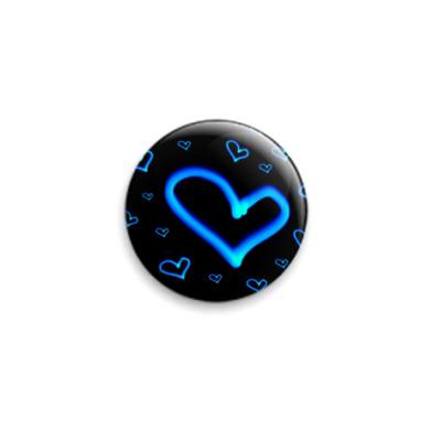 Значок 25мм Голубое сердце