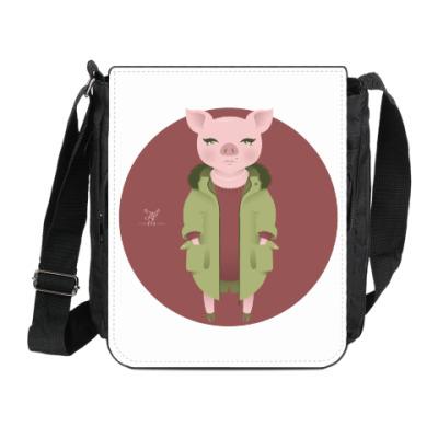 Сумка на плечо (мини-планшет) Animal Fashion: P is for Pig in parka
