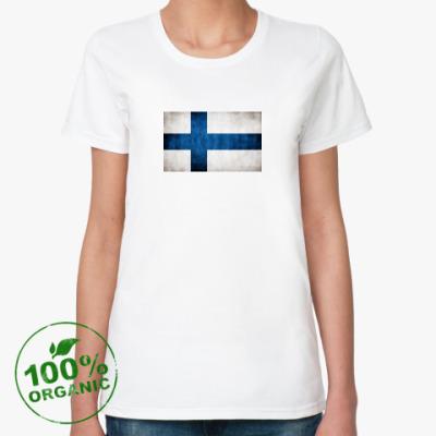 Женская футболка из органик-хлопка  'Финский флаг'