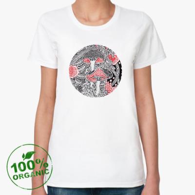 Женская футболка из органик-хлопка Грибы