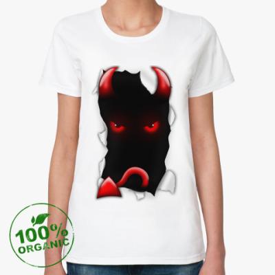 Женская футболка из органик-хлопка 'Чёрт'
