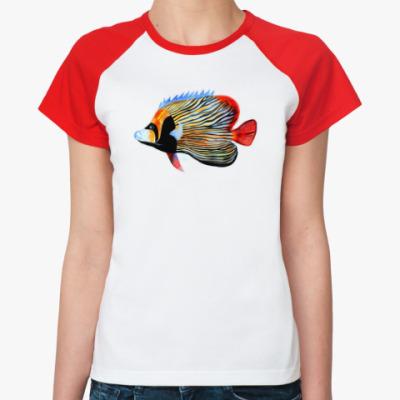 Женская футболка реглан рыбный день