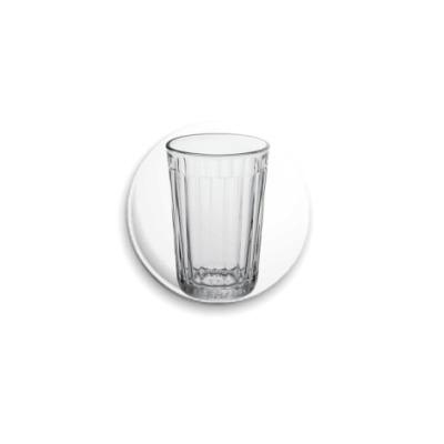 Значок 25мм  Гранёный стакан 25 мм