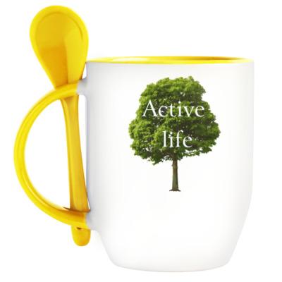 Кружка с ложкой Active life