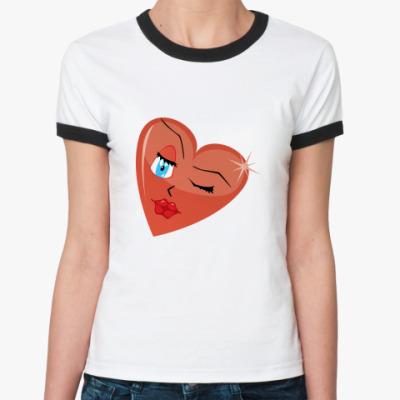 Женская футболка Ringer-T Сердечко