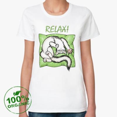 Женская футболка из органик-хлопка 'Расслабься!'