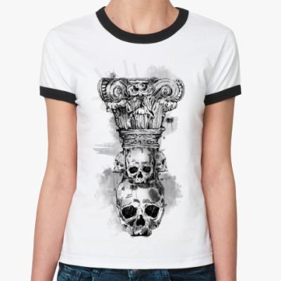 Женская футболка Ringer-T Череп-колонна