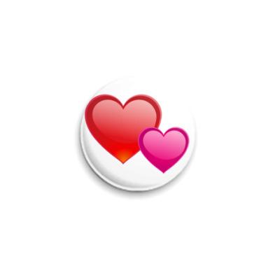 Значок 25мм Сердечки