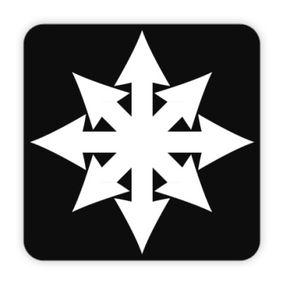 Костер (подставка под кружку) Хаос ч/б плоский на чёрном