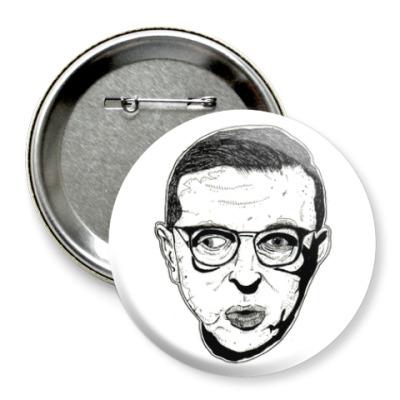 Значок 75мм Жан-Поль Сартр