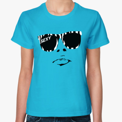 Женская футболка Очки зебра