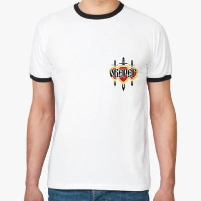 Футболка Ringer-T Ringer муж/бел-чёр/спина
