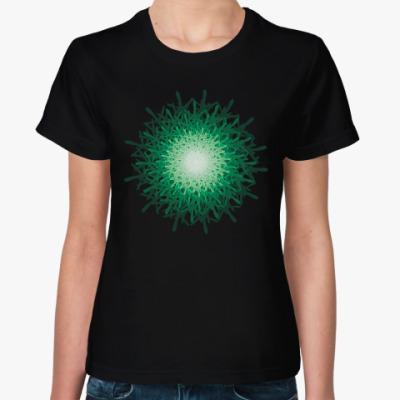 Женская футболка зеленая загадка