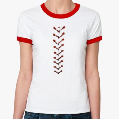 Женская футболка Ringer-T  со ``шнуровкой``