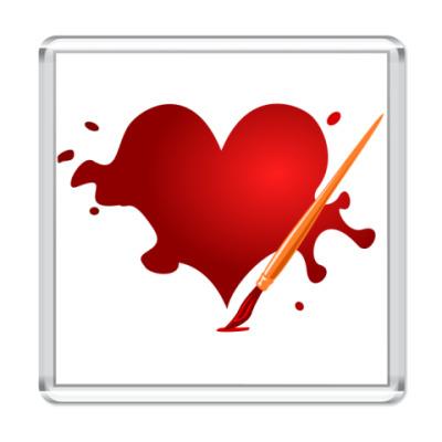 Магнит Сердце и кисть